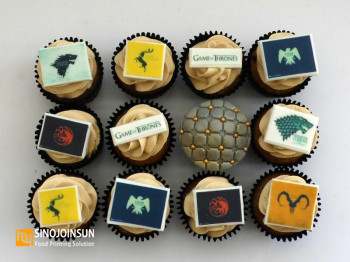game of thrones cupcakes printed with edible paper and Sinojoinsun edible ink