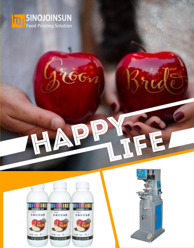 wedding customized apple printed with edible ink, fruit printer; Sinojoinsun