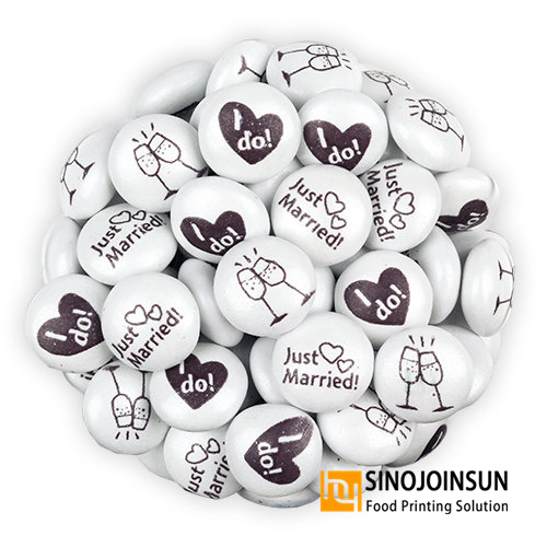 wedding candies printed with Sinojoinsun™ edible ink, candy printer, food printer.