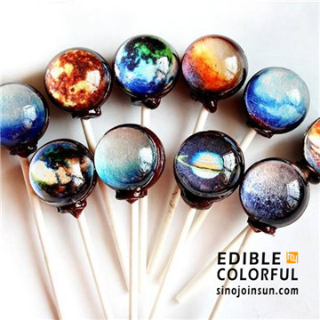 starry lollipop sinojoinsun decorated with edible paper and food ink